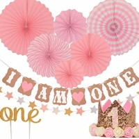 FIRST BIRTHDAY DECORATION SET FOR GIRL- 1st Baby GIRL Birthday Party,
