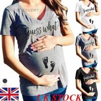UK Pregnant Womens Maternity Tee T-shirt Short Sleeve Tops Mom