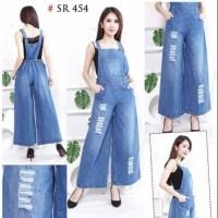 Overall Ripped Jeans Kulot Baju kodok Bahan Jeans tebal Sobek Tidak