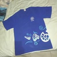 Kaos t shirt singapore biru katun pria wanita besar bekas second