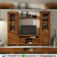 Bufet Lemari Tv dan Rak Buku / Meja Tv Kayu Jati Minimalis Jepara