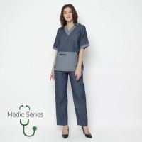 Medic Series Baju OKA / Scrub Suits (Atasan + Bawahan) - Blue Denim
