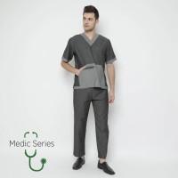 Medic Series Baju OKA / Scrub Suits (Atasan + Bawahan) - Black Denim