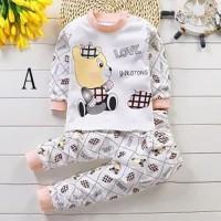 Bayi Set piyama Baju bayi Unisex pakaian kartun binatang Anak v16