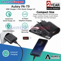 Charger Aukey Qualcomm Quick Charge 3.0 PA T9 Free Kabel Micro USB