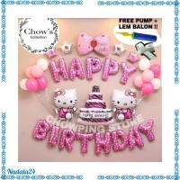 Paket Dekorasi Balon Ulang Tahun Happy Birthday Tema Hello Kitty Z4Z1