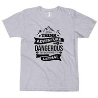 Kaos Distro Premium Lengan Pendek Adventure is Dangerous T-Shirt - Misty, M