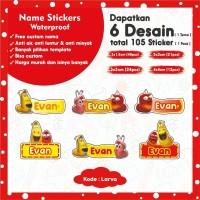 Stiker Label Nama Anak Custom Waterproff 105 pcs banyak pilihan desain