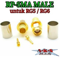 Konektor RP SMA Male Plug RF Coaxial JACK Crimp UNTUK RG5 RG6 LMR300