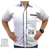 Seragam Kerja Kantor Putih Pria Kemeja Kerja Pria Hem Kerja Baju PDH - Putih Lis Hitam, XL