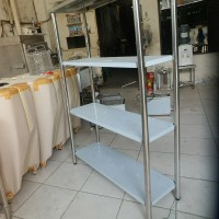 Rak stainless / Muktirak 4 susun stainless / Solid 4 Tiers stainless - Putih