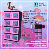 Lemari Plastik 4 Susun Little Pony Warna Pink, Merah, Biru, Hijau - Pink