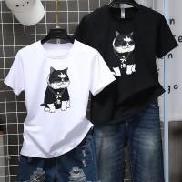 Kaos T-Shirt Casual Wanita dengan Gambar Kartun Kucing dan Bergaya