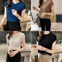 Tipis untuk Wanita Kaos T-Shirt Model Lengan Pendek Warna Polos