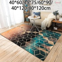 Matras Karpet Model Serat Polyester Warna Hijau Hitam & Emas untuk