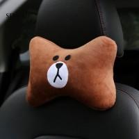Bantal Headrest Mobil Motif Kartun Beruang / Kelinci / Bebek Bahan