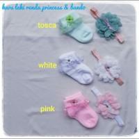 set kaos kaki Bando bayi warna putih dan pink princes renda premium