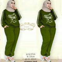 setelan baju training hijau army wanita remaja jumbo hijab friendly at
