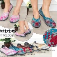 New Kiddo Frl002 Rajut Anyaman Sepatu Wanita Flat Wedges Ori Kualitas