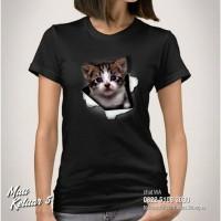 Baju KAOS KUCING KITTEN CAT Kaos Cewek Gambar KUCING Mau Keluar 5