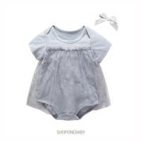 Star Dress Jumpsuit Set Bow Pakaian Baju Bayi Baju Baby Jumper TAYLOR - Abu-abu, 66 0-6m