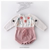 Jumpsuit Lux Knitted Pink Rajut Pakaian Bayi Baju Baby Jumper JASMINE