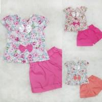 Baju Anak Bayi Perempuan Setelan Celana Katun Flower