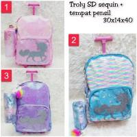Troly SD Sequin Plus Tempat Pensil Koper Anak Trolley Backpack school