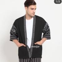 Baju Tenun Kimono pria motif toraja black fashion pria murah