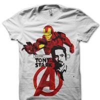 Kaos 6152 Tony Stark White Tee T-Shirt