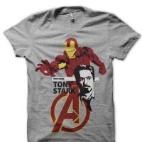 Kaos 6669 Tony Stark Grey Tee T-Shirt