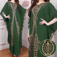 Kaftan aisah hijau botol baju muslim pesta mewah jumbo murah ait ktf
