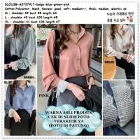 AB737917 Baju Atasan Kerja Kemeja Wanita Blouse Korea Import Pink Biru