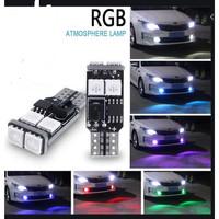 Lampu LED Senja T10 5050 6 Mata RGB 7 Warna 14 Mode Standby Strobo