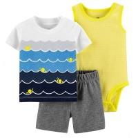 Setelan Kaos Jumper Romper Celana Abu Bayi 3 in 1 Ocean Kuning Putih - 3-6 Bulan