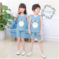 Setelan Singlet Baju Anak Impor Adem Katun Karakter Seri 6 - TOTOROBIRU, SIZE 100
