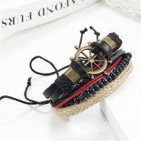 1 Set Hot sale Wood Beads Knitted Leather Strap Bangle Wax Rope Cuff