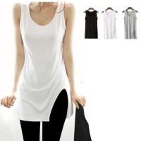 Kaos T-Shirt Wanita dengan Model Tanpa Lengan dan Ukuran Besar untuk