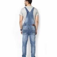 overall jeans pria biru dongker cowok celana kodok lucu baju preorder