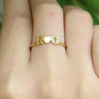 Cincin ukir nama titanium anti karat ring cewek lapis emas couple unik