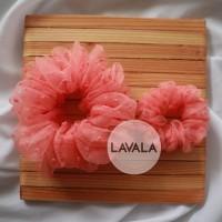 Scrunchie Ikat Rambut Bahan Organza - Coral