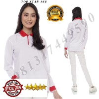 Kaos polos polo shirt wanita kerah lengan panjang Putih Kerah Merah