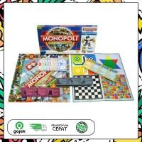 Mainan Keluarga Monopoly 5 in 1 Monopoli Halma Ular Tangga Ludo Catur