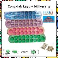 Congklak kayu asli plus biji kerang asli //Dakon kayu //Mainan anak