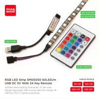 LED Strip Lampu RGB USB DC 5V SMD 5050 + Remote Indoor PC TV Modding