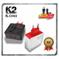 Charger K2 PREMIUM QUALITY K2-CH03 2 Ports USB FAST CHARGING 2.4A - Hitam, Kabel Micro Usb