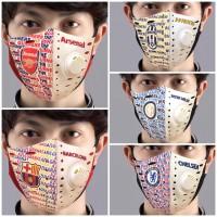 Masker Kain Scuba 2Lapis Respirator Motif Club Bola/Masker Dewasa