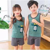Setelan Singlet Baju Anak Impor Adem Katun Karakter Seri 7 - CROCODILE, SIZE 100