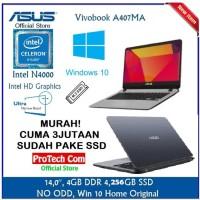 LAPTOP ASUS VIVOBOOK A407MA INTEL N4000 4GB 256GB SSD 14 W10 RESMI