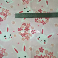 Kain Katun Halus Baby Import Jepang Pink Sakura and Rabbits